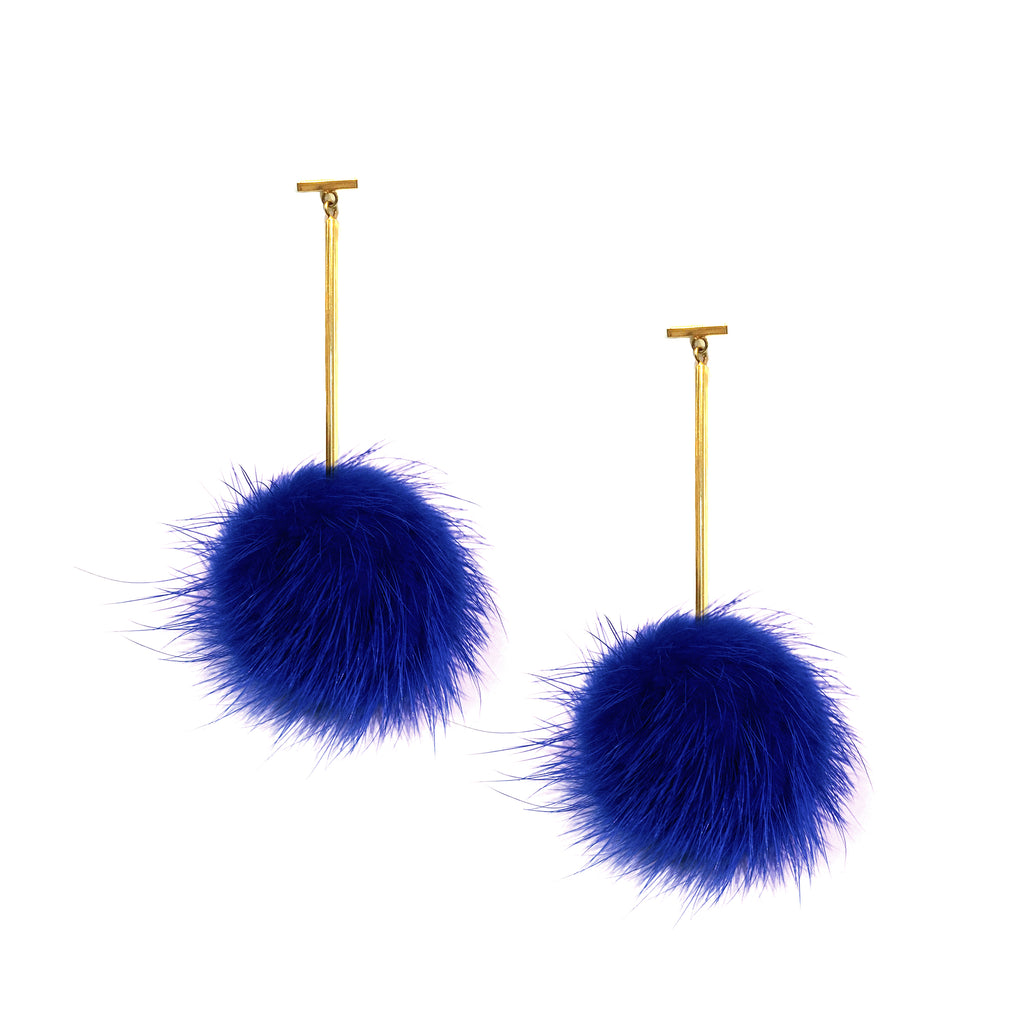 Cobalt Blue Mink Pom Pom T Bar Earrings, Earring, Tuleste, Tuleste