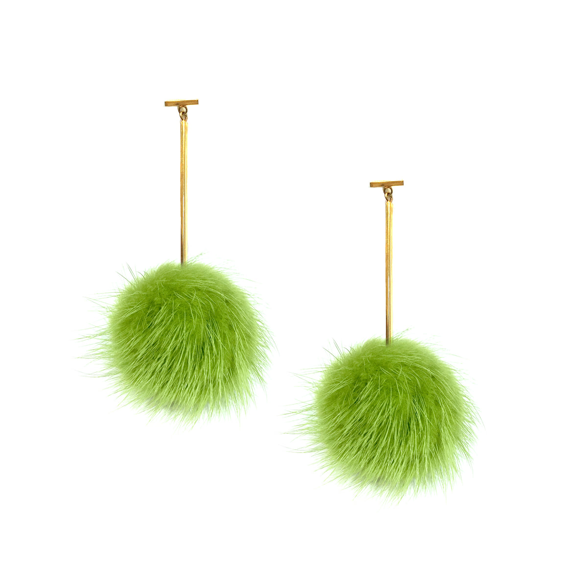 Green Mink Pom Pom T Bar Earrings, Earrings, Tuleste, Tuleste
