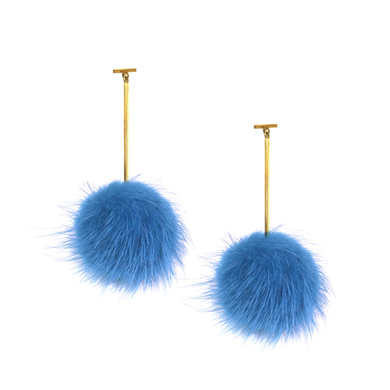Light Blue Mink Pom Pom T Bar Earrings, earring, Tuleste, Tuleste