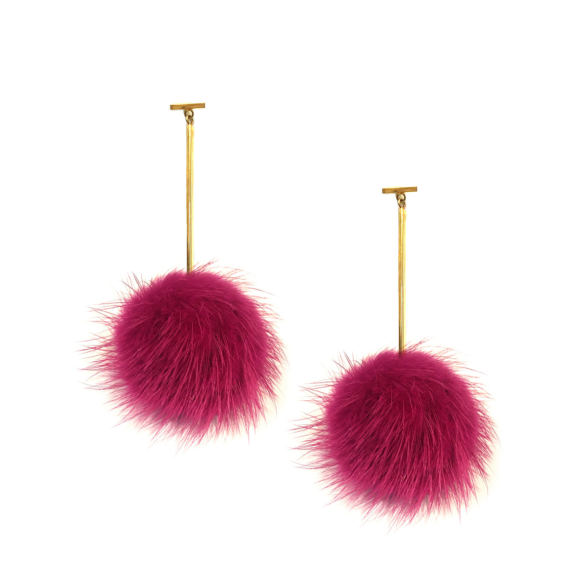 Mauve Mink Pom Pom T Bar Earrings, Earring, Tuleste, Tuleste