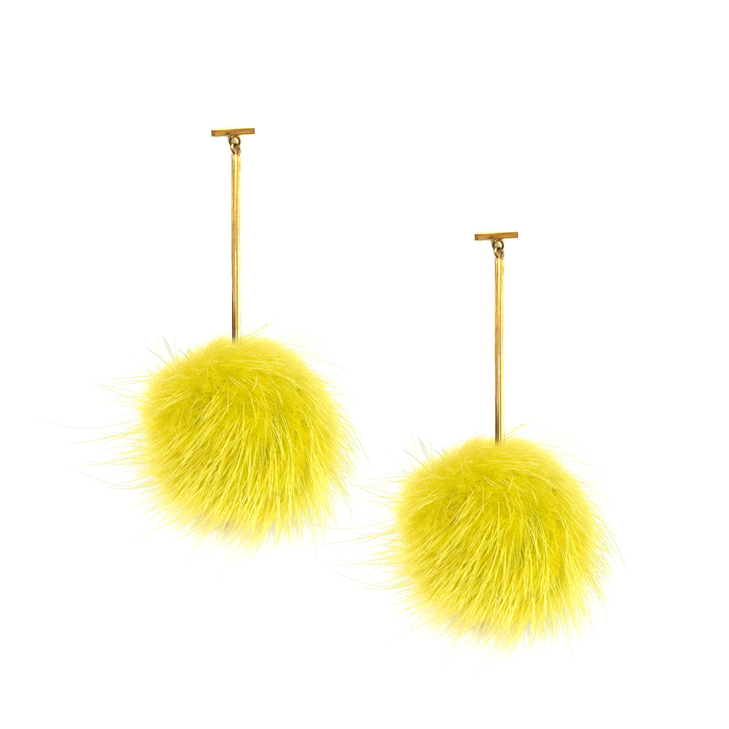 Yellow Mink Pom Pom T Bar Earrings