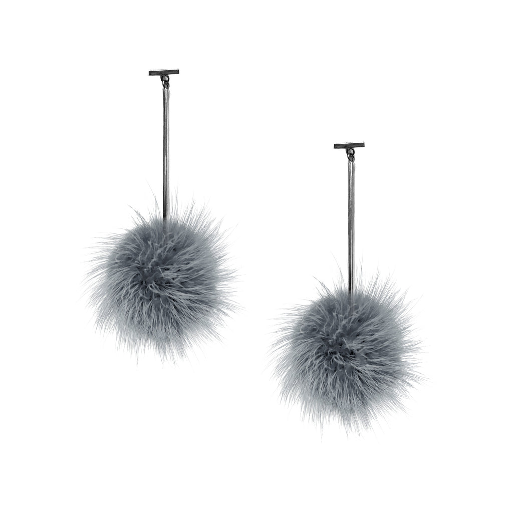 Grey Mink Pom Pom T Bar Earring