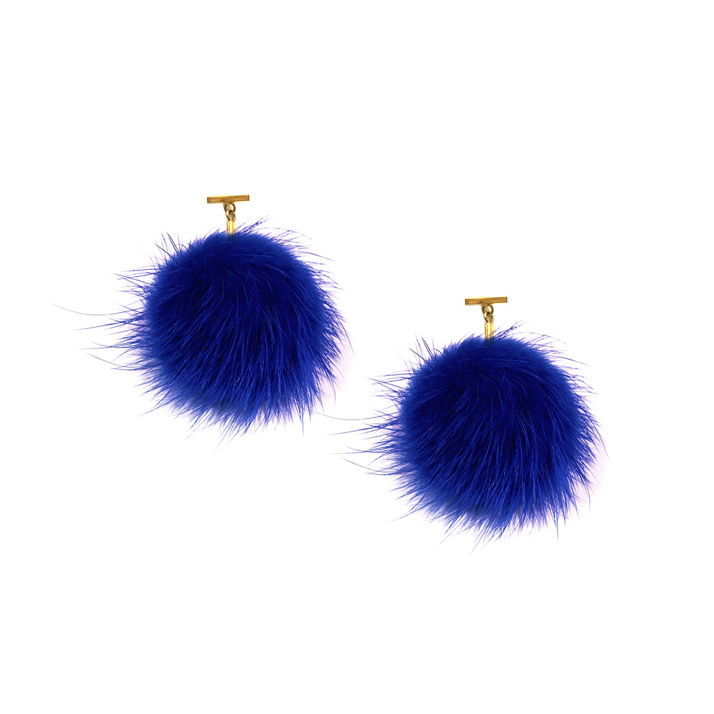 Cobalt Blue Mink Pom Pom T Stud Earrings