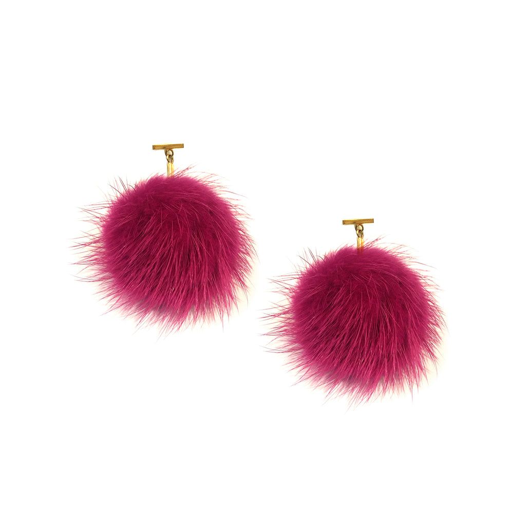 Mauve Mink Pom Pom T Stud Earrings, earring, Tuleste, Tuleste