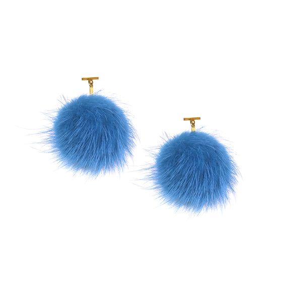Light Blue Mink Pom Pom T Stud Earrings, Earring, Tuleste, Tuleste