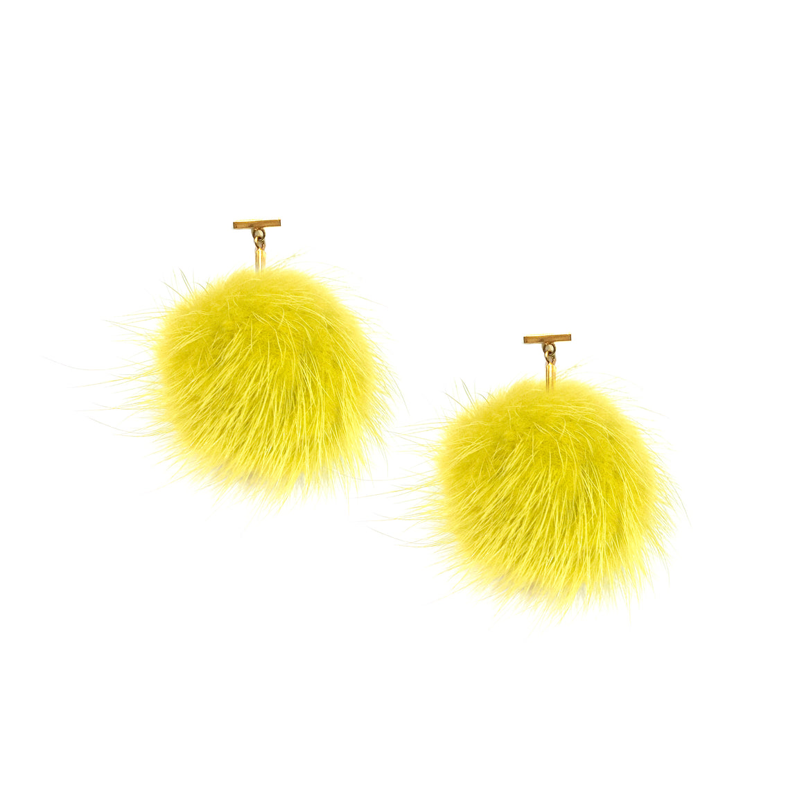 Yellow Mink Pom Pom T Stud Earrings