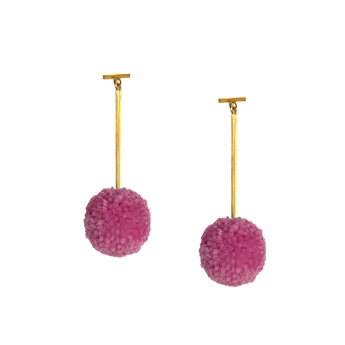 "Hot Rose 1"" Yarn Pom Pom T Bar Earrings, earring, Tuleste, Tuleste"