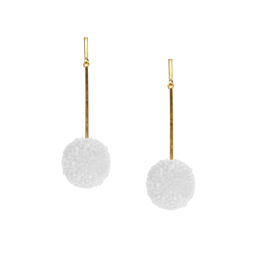 "White 1"" Yarn Pom Pom Earring"