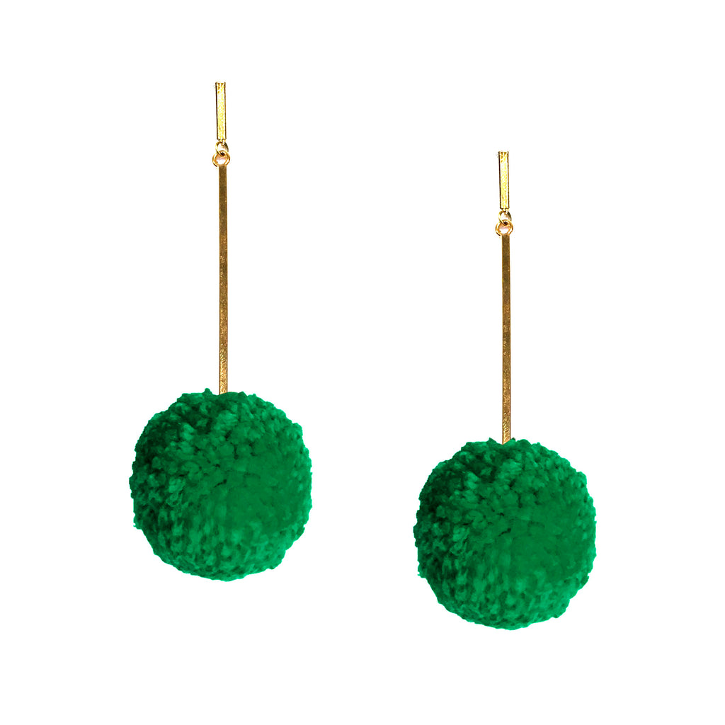 "Jelly Bean Green 2"" Yarn Pom Pom Earrings, earring, Tuleste, Tuleste"