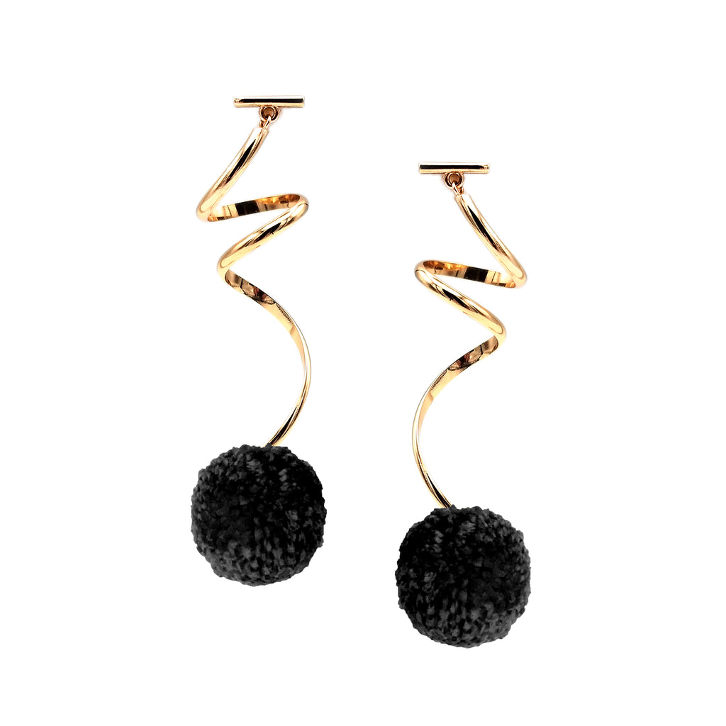"1"" BLACK YARN SPIRAL POM POM EARRINGS, Earrings, Tuleste, Tuleste"