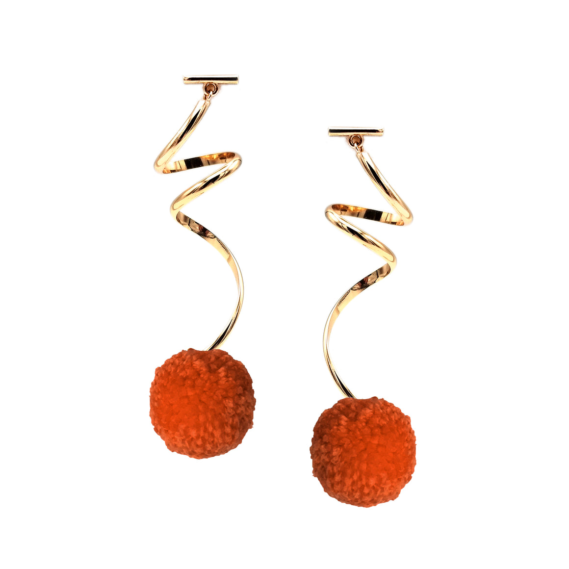"FIRE RED 1"" YARN SPIRAL POM POM EARRINGS, Earrings, Tuleste, Tuleste"