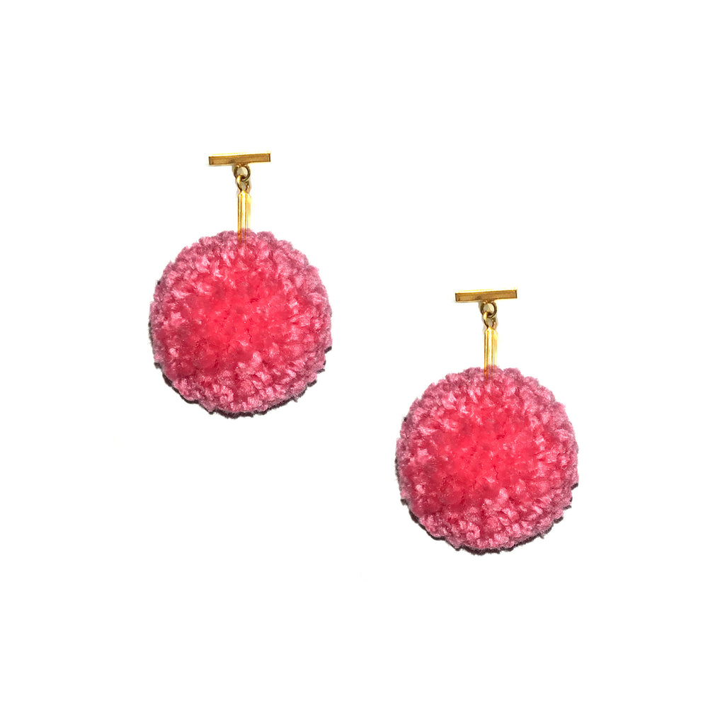 "Tropical Pink 1"" Yarn Pom Pom T Stud Earring"