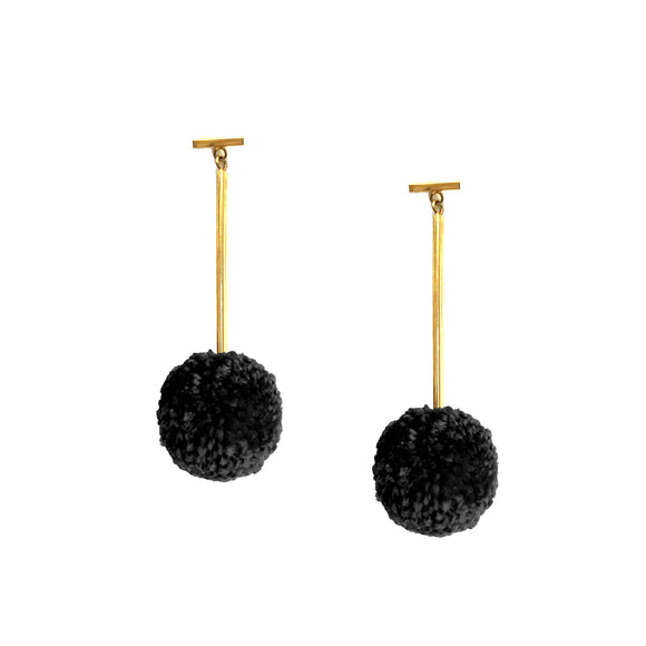 "Black 1"" Yarn Pom Pom T Bar Earrings, Earrings, Tuleste, Tuleste"