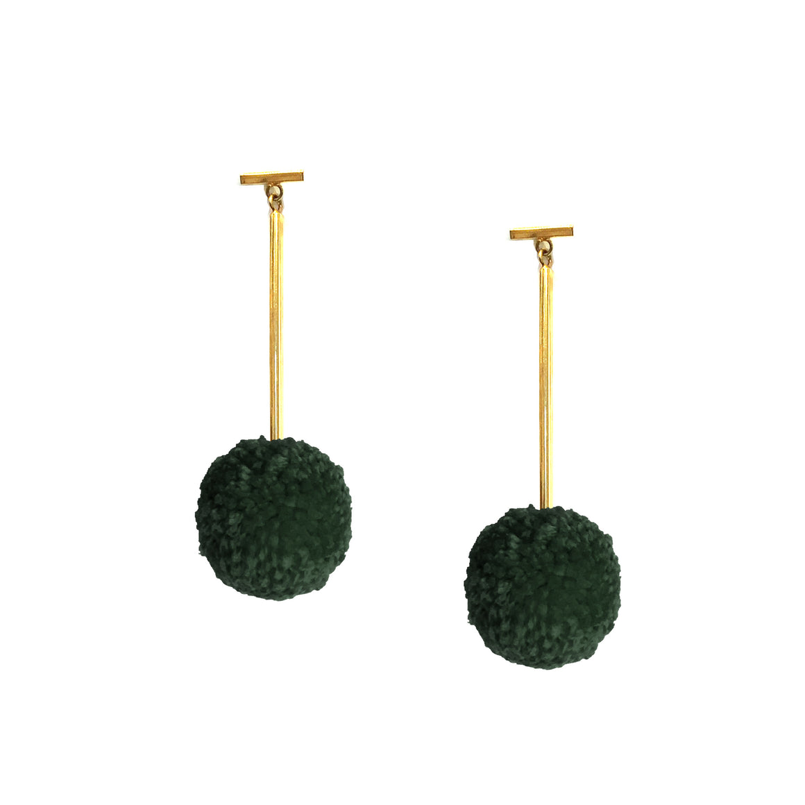 "Forest Green 1"" Yarn Pom Pom T Bar Earrings, earring, Tuleste, Tuleste"