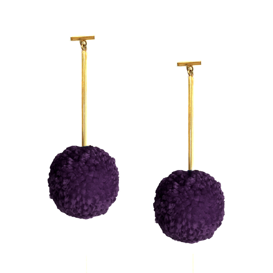 "Mixed Berry 2"" Yarn Pom Pom T Bar Earrings, earring, Tuleste, Tuleste"