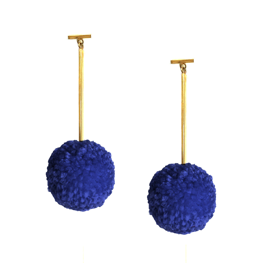 "Royal 2"" Yarn Pom Pom T Bar Earrings, Earrings, Tuleste, Tuleste"