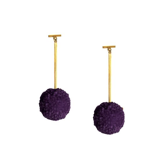 "Mixed Berry 1"" Yarn Pom Pom T Bar Earrings, earring, Tuleste, Tuleste"