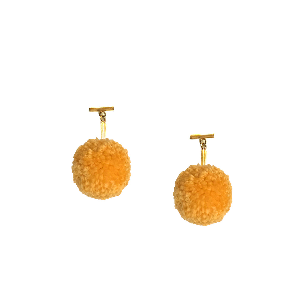 "Sun Gold 1"" Yarn Pom Pom T Stud Earrings, earring, Tuleste, Tuleste"