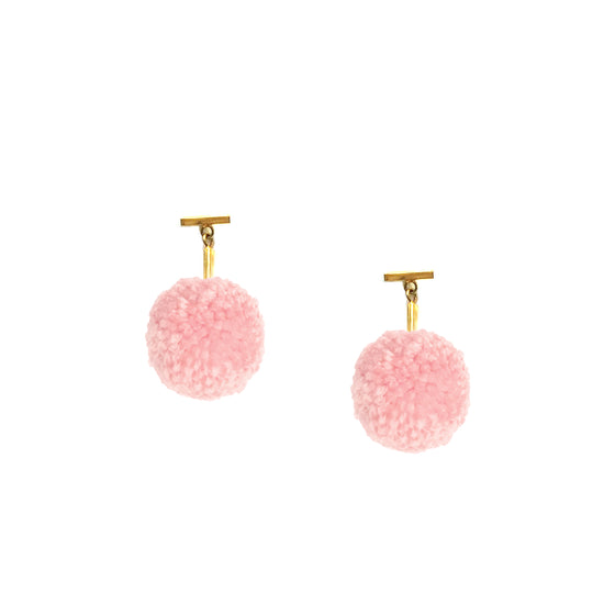 "Soft Pink 1"" Yarn Pom Pom T Stud Earrings, earring, Tuleste, Tuleste"