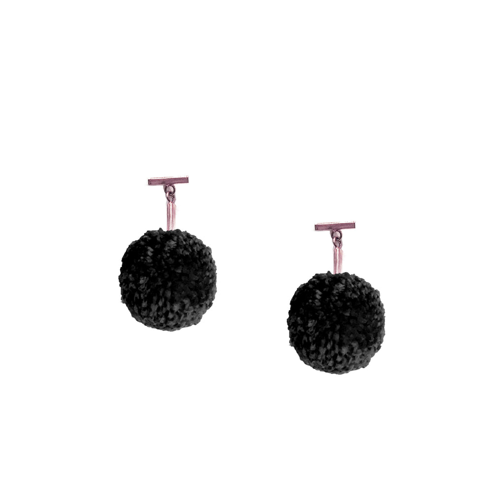 "Black 1"" Yarn Pom Pom T Stud Earrings, Earrings, Tuleste, Tuleste"