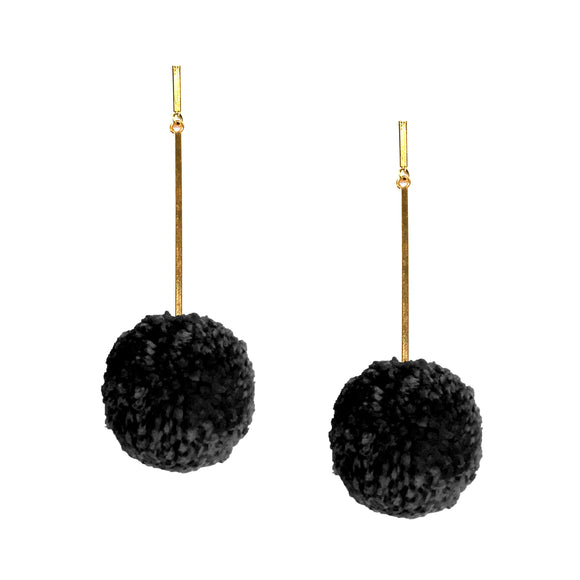 "Black 2"" Yarn Pom Pom Earrings, Earring, Tuleste, Tuleste"