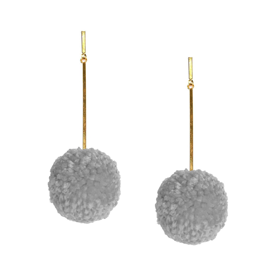 "Grey Mist 2"" Yarn Pom Pom Earrings, earring, Tuleste, Tuleste"