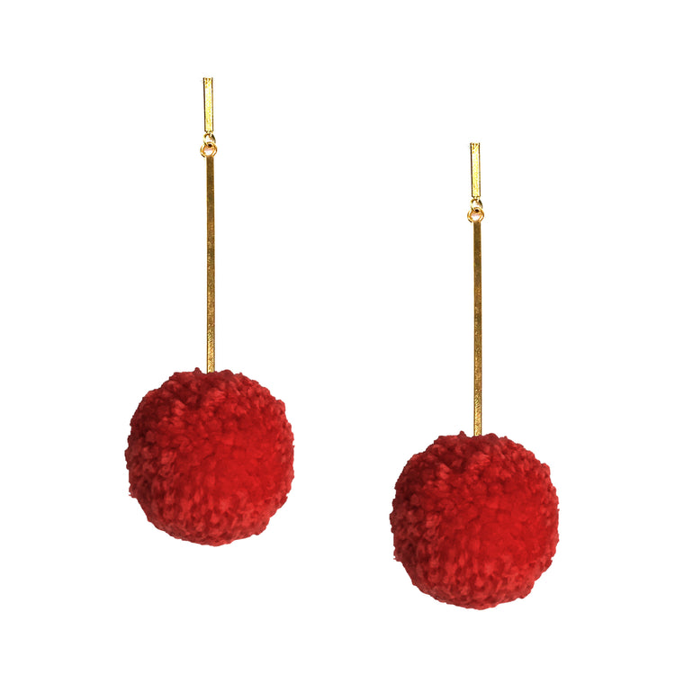 "Red 2"" Yarn Pom Pom Earring"