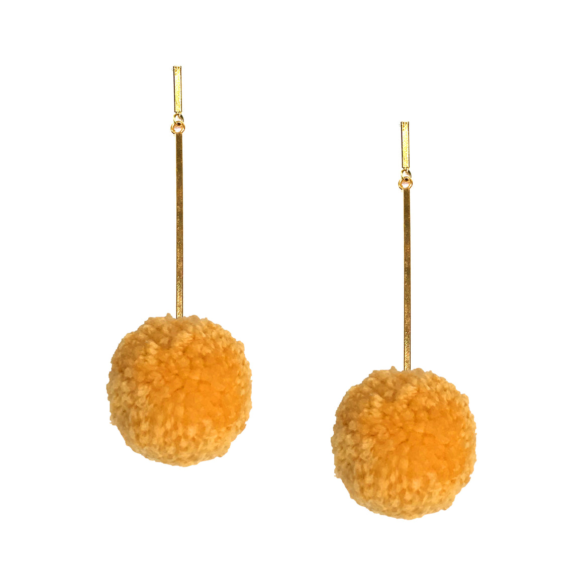 "Sun Gold 2"" Yarn Pom Pom Earring"