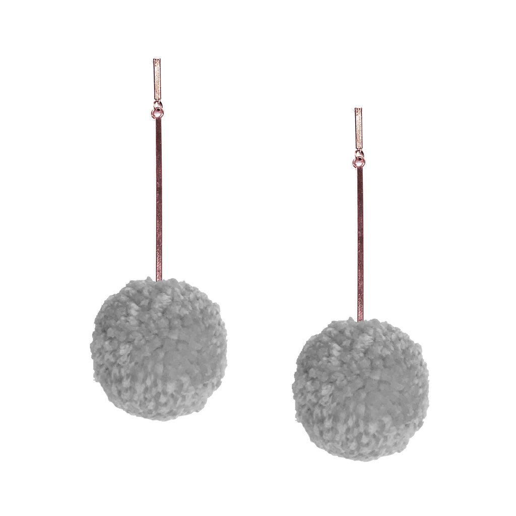 "Grey Mist 2"" Yarn Pom Pom Earring"