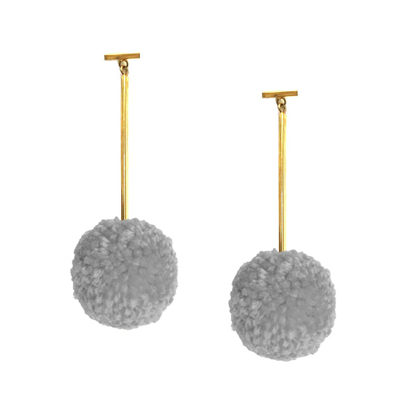 "Grey Mist 2"" Yarn Pom Pom T Bar Earrings, earring, Tuleste, Tuleste"