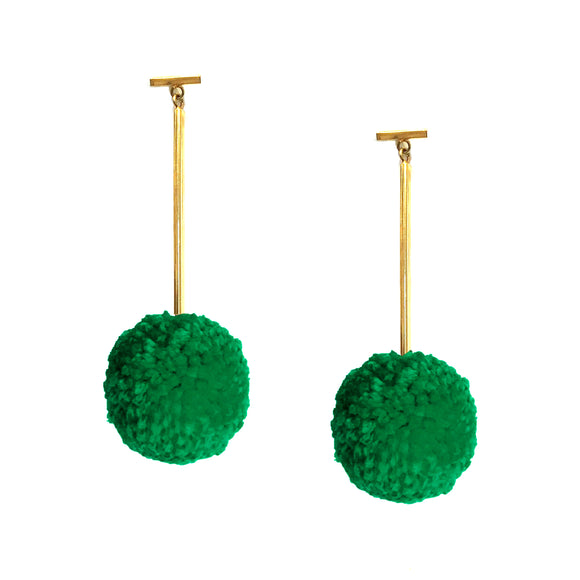 "Jelly Bean Green 2"" Yarn Pom Pom T Bar Earrings, earring, Tuleste, Tuleste"