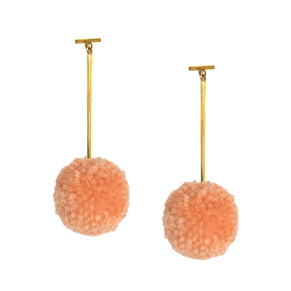 "Light Peach 2"" Yarn Pom Pom T Bar Earrings, Earring, Tuleste, Tuleste"