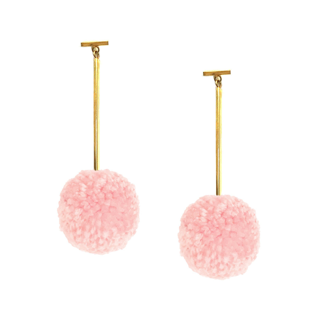 "Soft Pink 2"" Yarn Pom Pom T Bar Earrings, earring, Tuleste, Tuleste"