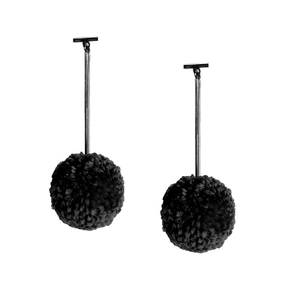 "Black 2"" Yarn Pom Pom T Bar Earrings, earring, Tuleste, Tuleste"
