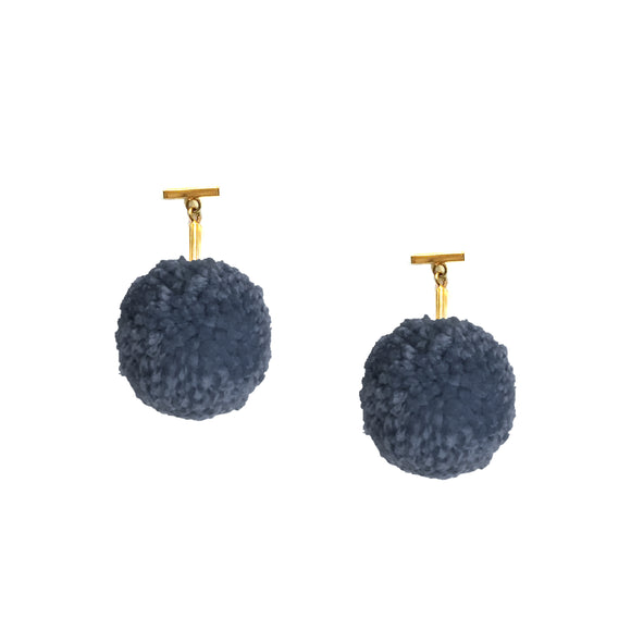 "NAVY 2"" YARN POM POM T STUD EARRINGS, Earrings, Tuleste, Tuleste"