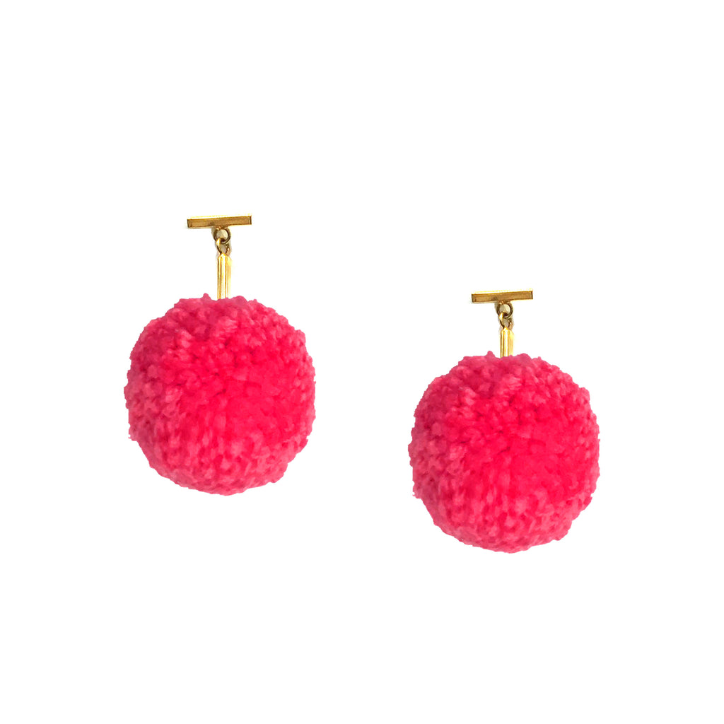 "Hot Rose 2"" Yarn Pom Pom T Stud Earring"