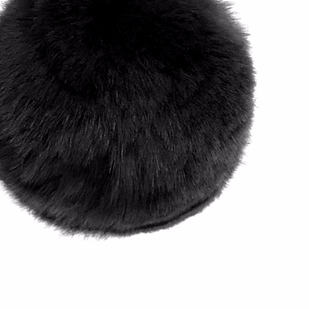 Black Rex Rabbit Pom Pom Stud Earring