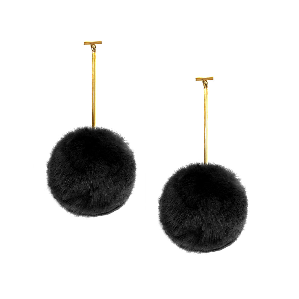 Black Rex Rabbit Pom Pom T Bar Earring