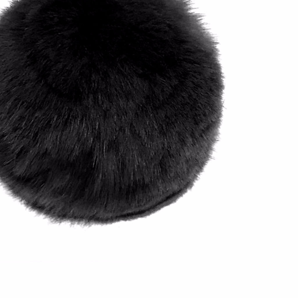 Black Rex Rabbit Pom Pom T Stud Earring