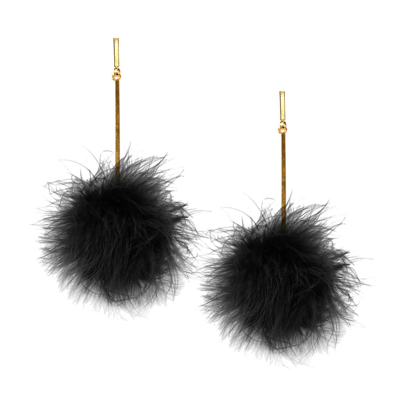Black Marabou Pom Pom Earrings, Earring, Tuleste, Tuleste