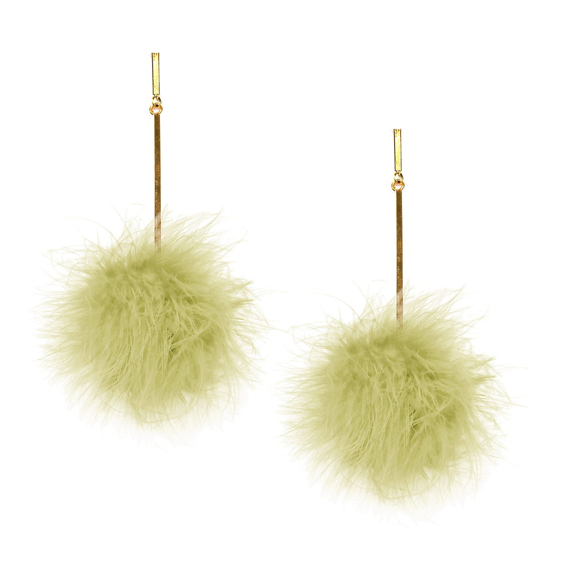 Chartreuse Marabou Pom Pom Earrings, Earrings, Tuleste, Tuleste