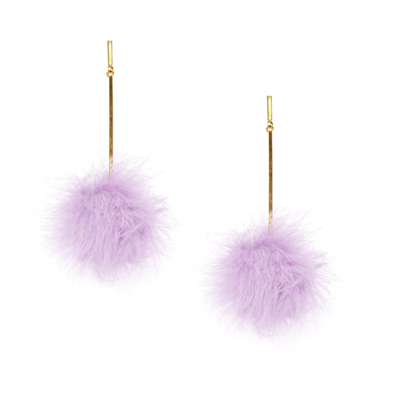 Lavender Marabou Pom Pom Earrings, Earrings, Tuleste, Tuleste