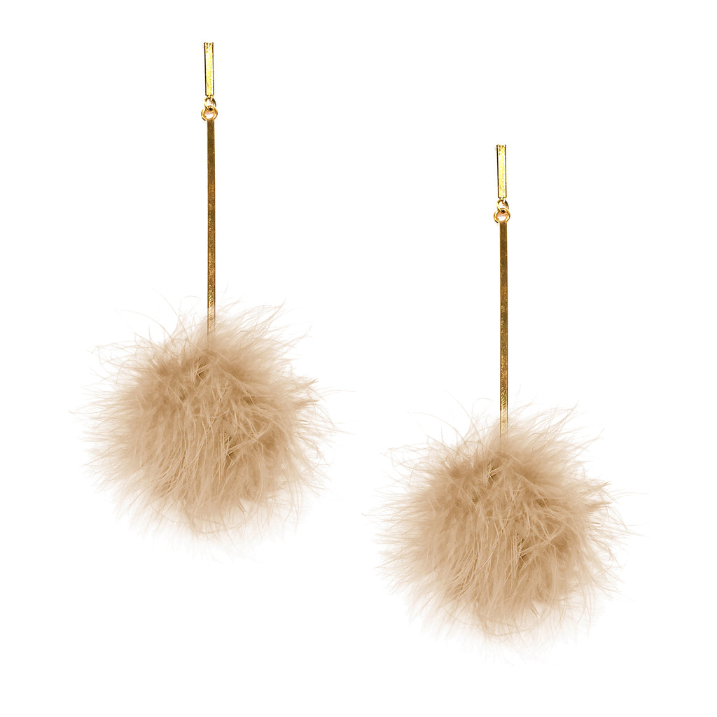 Nude Marabou Pom Pom Earrings, Earring, Tuleste, Tuleste