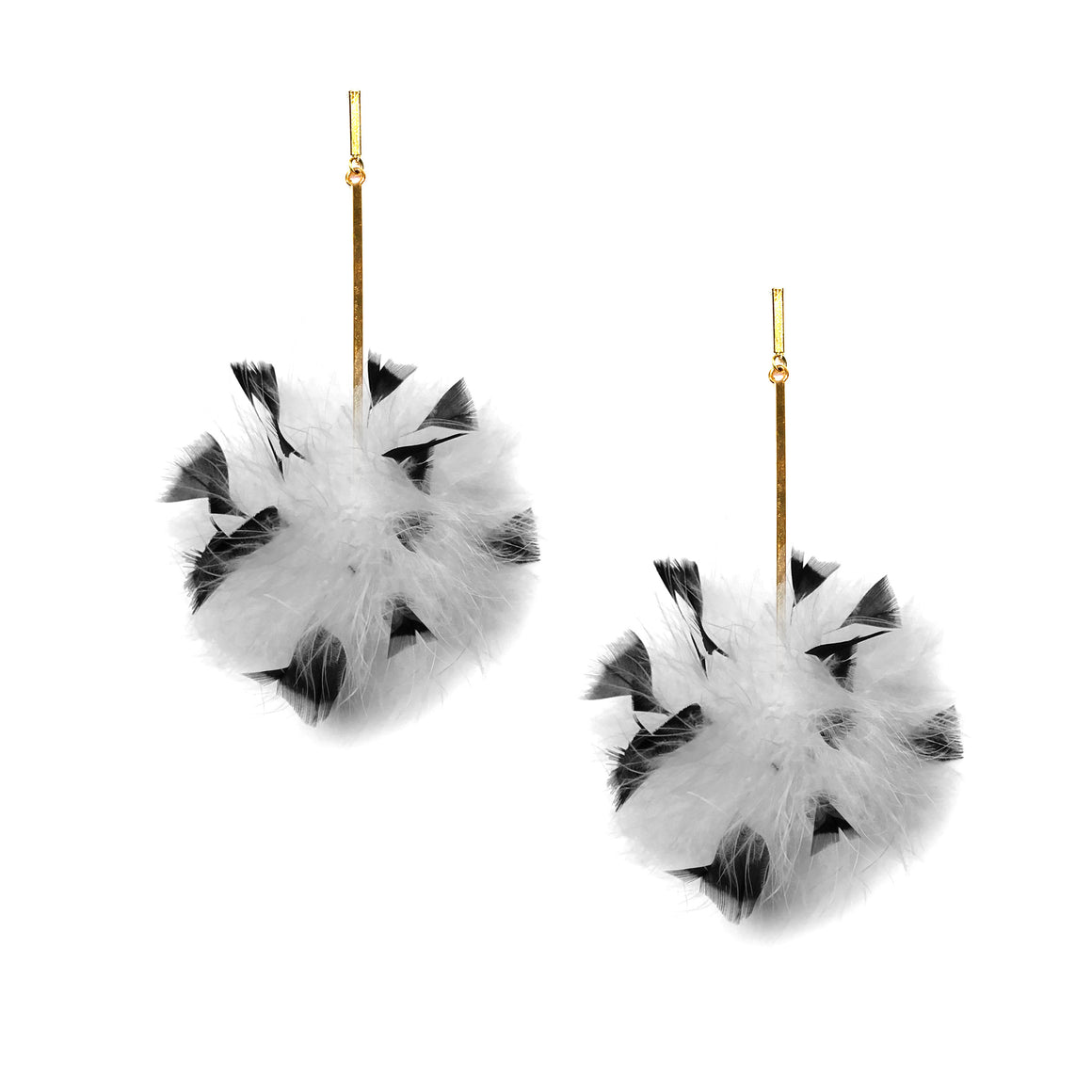 White/Black Marabou Coque Pom Pom Earrings, earring, Tuleste, Tuleste