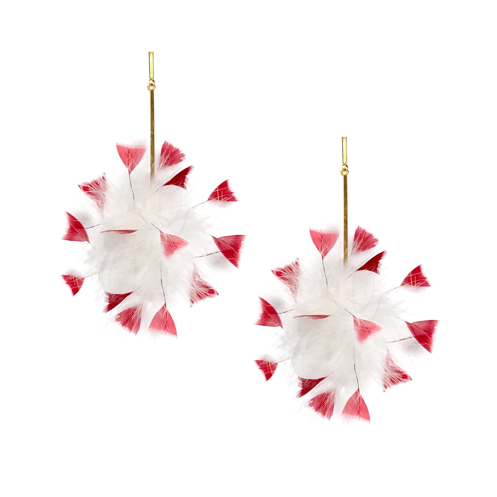 White/Red Marabou Coque Pom Pom Earrings