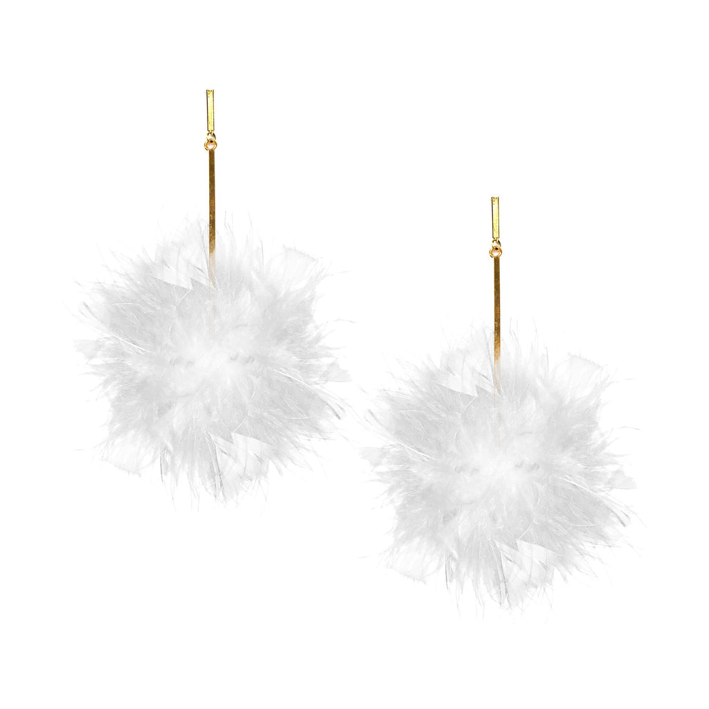White/White Marabou Coque Pom Pom Earrings, earring, Tuleste, Tuleste