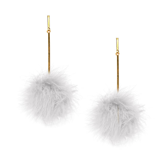 White Marabou Pom Pom Earrings, Earrings, Tuleste, Tuleste