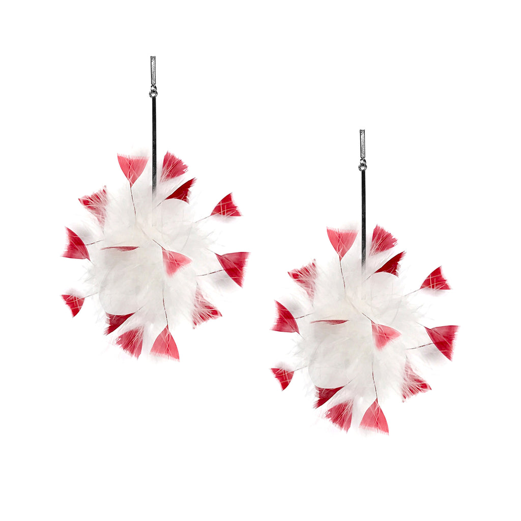 White/Red Marabou Coque Pom Pom Earring
