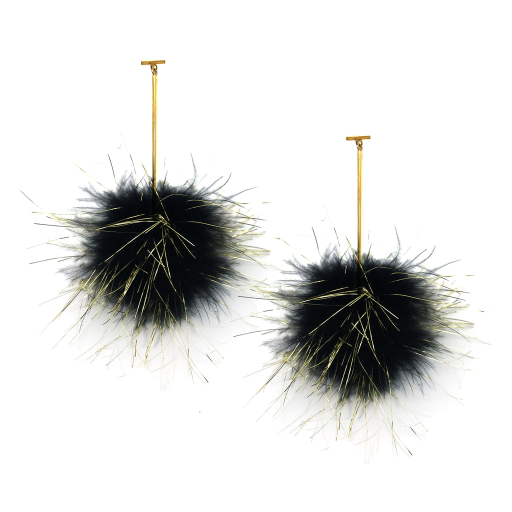 Black with Gold Lurex Marabou Pom Pom T Bar Earrings, Earrings, Tuleste, Tuleste