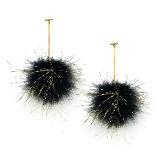 Black with Gold Lurex Marabou Pom Pom T Bar Earrings, earring, Tuleste, Tuleste